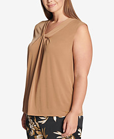 Calvin Klein Plus Size Sleeveless Knot-Neck Top