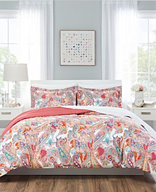Paisley Coral Reversible Bedding 7-Piece Full/Queen Set
