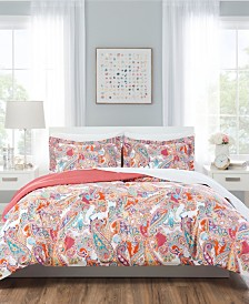 Nicole Miller Paisley Coral Reversible Bedding 7-Piece Full/Queen Set