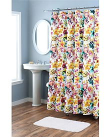 Nicole Miller Printed Garden Party Spring Cotton Shower Curtain