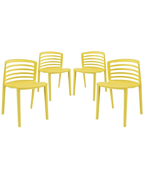 Modway Curvy Dining Chairs Set of 4