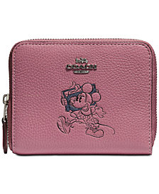 COACH Minnie Mouse Motif Small Boxed Zip-Around Wallet, Created for Macys