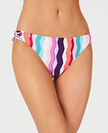 Bar III Waves Printed Strappy Side Hipster Bottoms, Created for Macy's