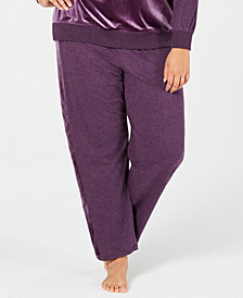 Alfani Plus Size Velvet-Stripe Jogger Pajama Pants, Created for Macy's