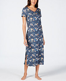 Sesoire Printed Lace-Neckline Nightgown