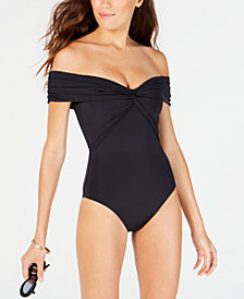 Trina Turk Solid Twist Bandeau One-Piece Swimsuit