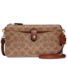 COACH Signature Coated Canvas Pop Up Crossbody Wallet