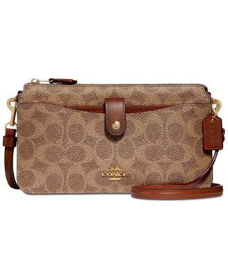 coach signature coated canvas pop up crossbody wallet handbags rh macys com