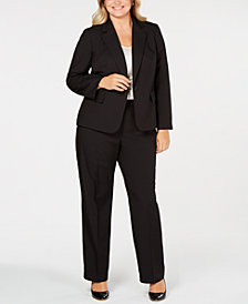 Le Suit Plus Size Shadow-Stripe Pantsuit