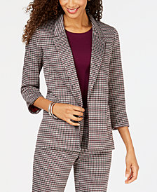 Nine West Houndstooth Kiss-Front Jacket