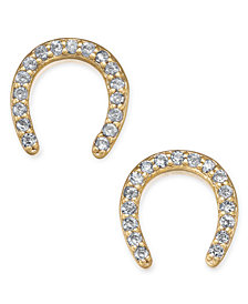 kate spade new york Gold-Tone Pavé Horseshoe Stud Earrings