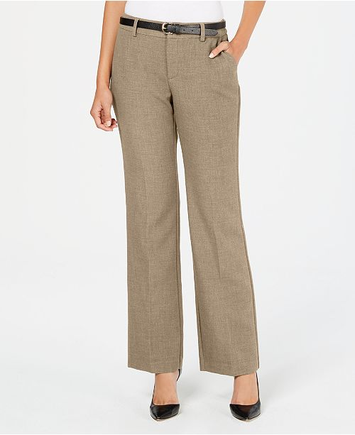 Charter Club Petite Belted Slim It Up Trousers, Created For Macy's