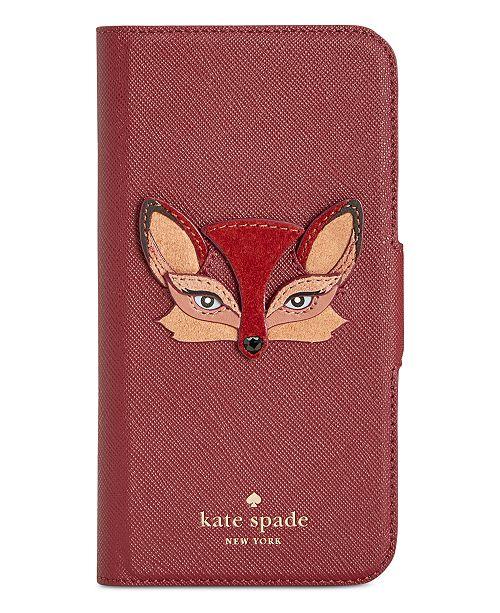 1eb8e9b8ea68 kate spade new york Fox Appliqué iPhone X Folio Case   Reviews ...