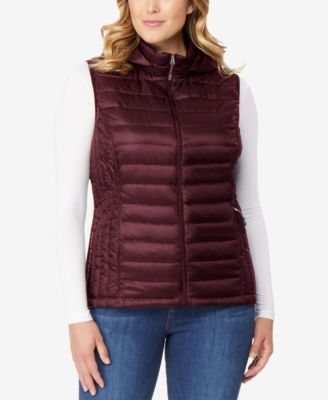 Plus Size Hooded Packable Down Vest
