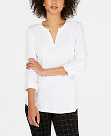 Charter Club Cotton Split-Neck Utility Top, Created for Macy's