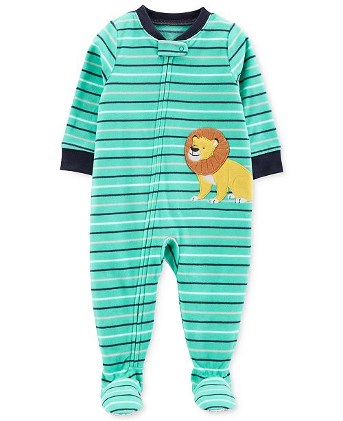 11783d953bc8 Carter s Baby Boys Striped Lion Fleece Footed Pajamas   Reviews ...