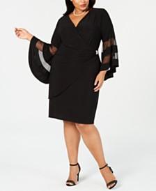 R & M Richards Plus Size Illusion Bell-Sleeve Dress