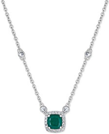 "Emerald (1 ct. t.w.) & White Sapphire (9/10 ct. t.w.) 18"" Pendant Necklace in Sterling Silver (Also available in Certified Ruby)"