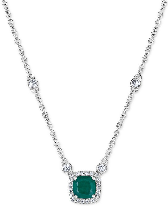 """Macy's Emerald (1 ct. t.w.) & White Sapphire (9/10 ct. t.w.) 18"""" Pendant Necklace in Sterling Silver (Also available in Certified Ruby)"""