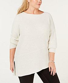 525 America Plus Size Cotton Asymmetrical Hem Sweater, Created for Macy's