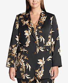 Calvin Klein Plus Size Two-Button Khaki Floral Jacket