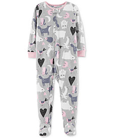 Carter's Baby Girls Animal Footed Fleece Pajamas