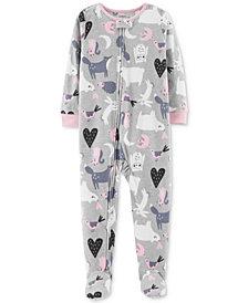 Carter's Baby Girls Animal Footed Fleece Pajamas