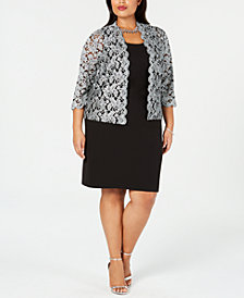 Jessica Howard Plus Size Sheath Dress & Glitter Jacket