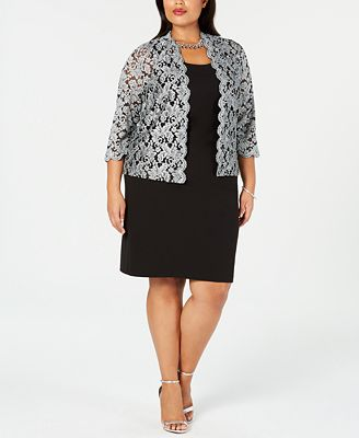 Jessica Howard Plus Size Sheath Dress Glitter Jacket Dresses