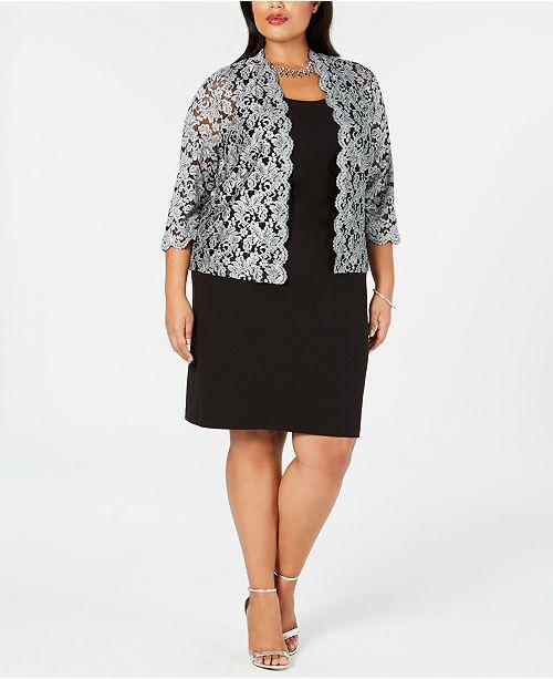 305fe7f7b24 Jessica Howard Plus Size Sheath Dress   Glitter Jacket   Reviews ...