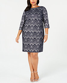 Jessica Howard Plus Size Lace Glitter Sheath Dress