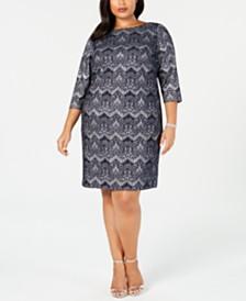 6081500425e Jessica Howard Plus Size Lace Glitter Sheath Dress