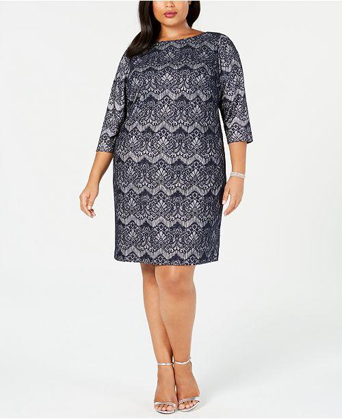 b7622c8e0ea85 Jessica Howard Plus Size Lace Glitter Sheath Dress & Reviews ...