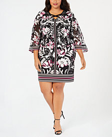 JM Collection Plus and Petite Plus Size Chiffon-Sleeve Shift Dress, Created for Macy's