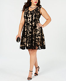 Taylor Plus Size Flocked Velvet Fit & Flare Dress