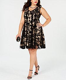 Taylor Plus Size Flocked Velvet Fit & Flare Dress
