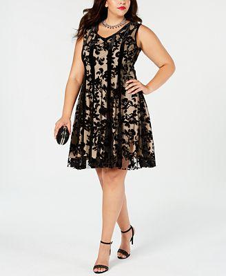 Taylor Plus Size Flocked Velvet Fit Flare Dress Dresses Women