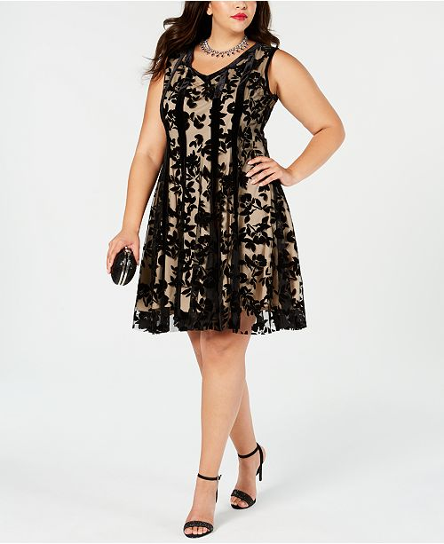 Taylor Plus Size Flocked Velvet Fit & Flare Dress & Reviews ...