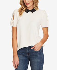 CeCe Tie-Sleeve Collared Blouse