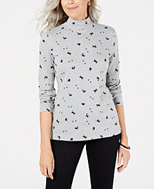 Karen Scott Petite Cat-Print Mock Turtleneck, Created for Macy's