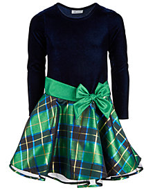 Bonnie Jean Big Girls Velvet Taffeta Plaid Dress