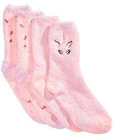 Cozy Socks Little & Big Girls 2-Pk. Unicorn Non-Slip Socks