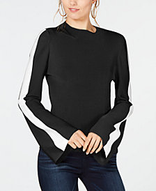 I.N.C. Petite Striped Bell-Sleeve Sweater, Created for Macy's