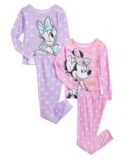 e6a05f2e4 Minnie Mouse Toddler   Little Girls 4-Pc. Cotton Pajama Set ...