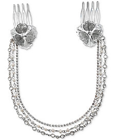 Badgley Mischka Silver-Tone Crystal Chain Double Hair Combs