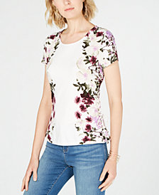 I.N.C. Printed Lace-Up Top, Created for Macy's