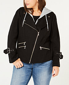 I.N.C. Plus Size Hooded Moto Jacket, Created for Macy's