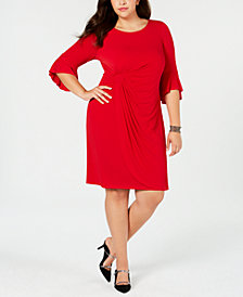 Connected Plus Size Bell-Sleeve Draped Dress
