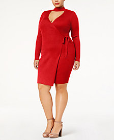 Say What? Trendy Plus Size Faux-Wrap Sweater Dress