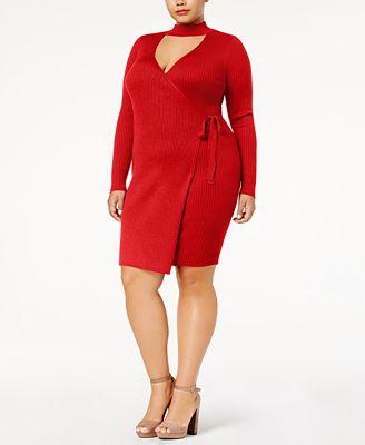 Say What? Plus Size Faux-Wrap Sweater Dress
